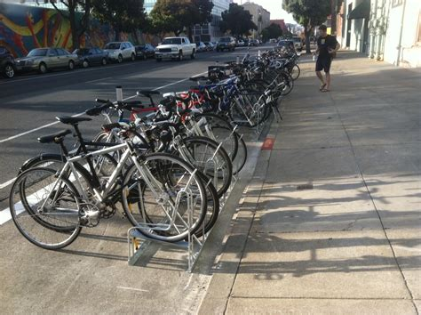 Angled Bike Rack by Bike Parking Becoming A Focus In Cities Peak Bicycle Racks