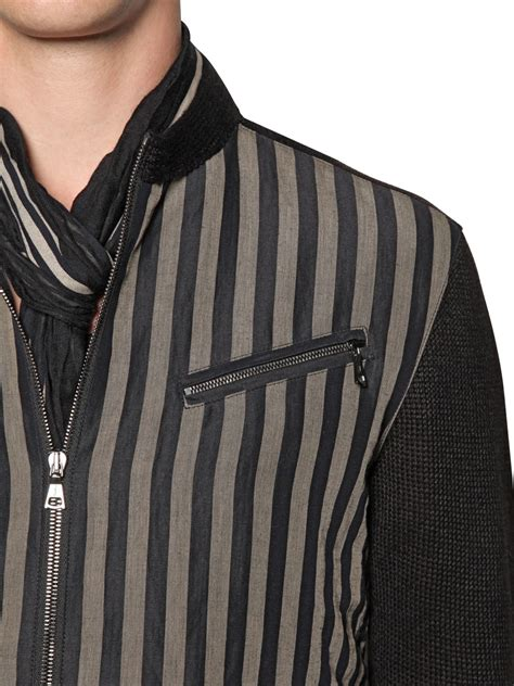 Quisha Jaket Canvas Linen Rubiah varvatos striped canvas knitted linen jacket in black for lyst