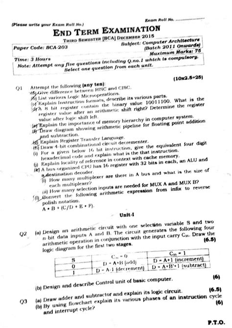 Ipu Mba Entrance Syllabus by Bca 3rd Semester Computer Architecture Question Paper