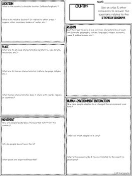 five themes of geography research handout 5 themes of geography country research questions by