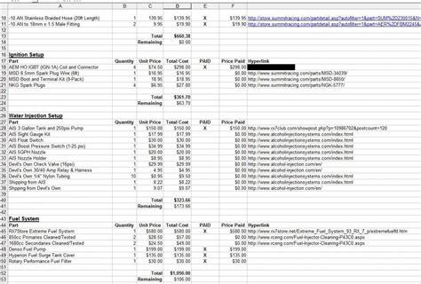 build spreadsheet template rx7club com mazda rx7 forum