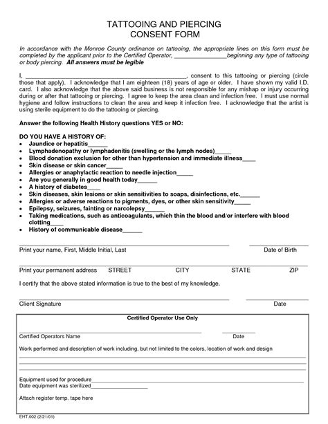 tattoo waiver tattooing and piercing consent form tattooing and