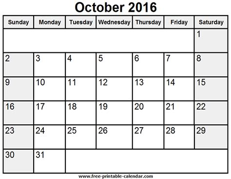 october calendar template 2016 calendar printable with time calendar template 2016