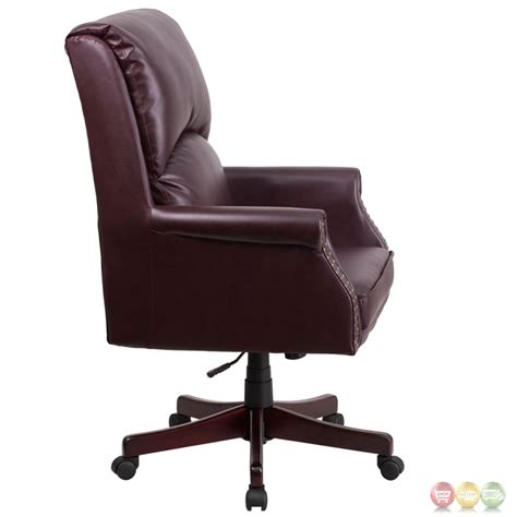 Pillow Chair by High Back Pillow Back Burgundy Leather Executive Swivel