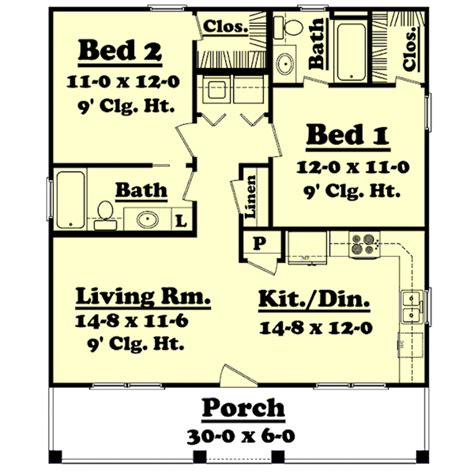 farmhouse style house plan 2 beds 2 baths 900 sq ft plan