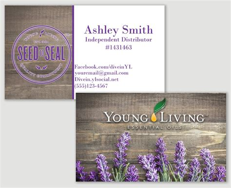 Lavender Young Living Business Card Printable Distributor Living Business Card Template