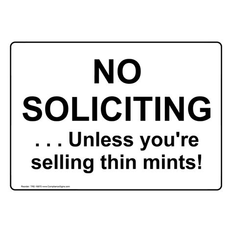 No Selling no soliciting unless you re selling thin mints sign tre 16970