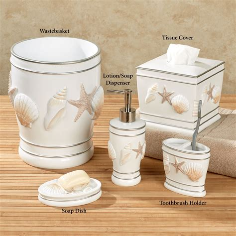 seashell bathroom accessories cape cod coastal seashell bath accessories