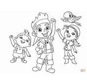 Dibujo De Jake Izzy Cubby Y Skully Festejan Juntos Para