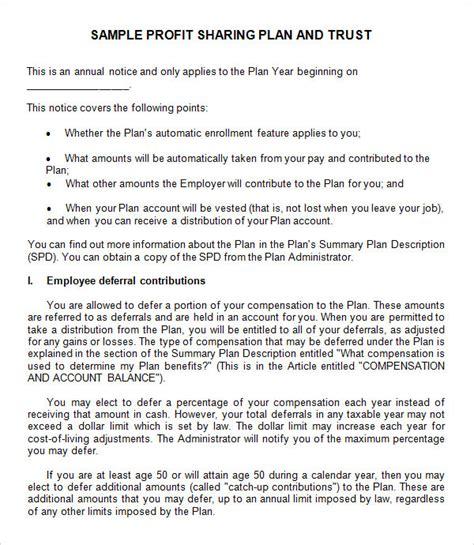 sample profit sharing agreement documents