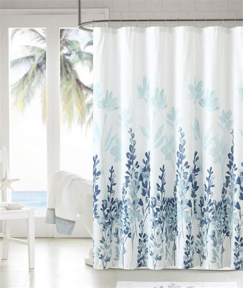 www shower curtains mirage teal blue white floral flowers fabric bathroom