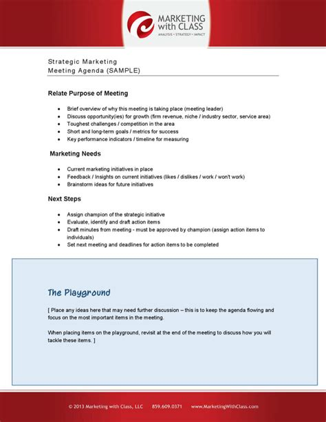 marketing meeting agenda templates download free