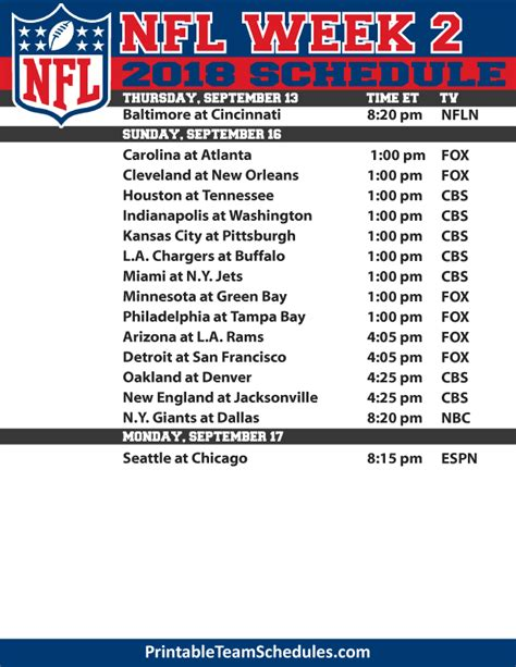 printable nfl schedule for week 2 the printable 2015 nfl week 2 schedule provides the date