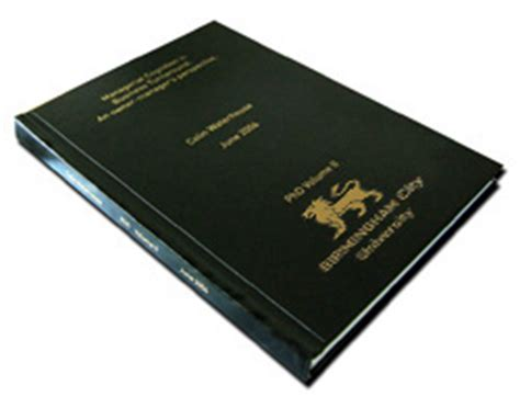 Dissertations And Theses Book by Digital Print Services At The Birmingham City