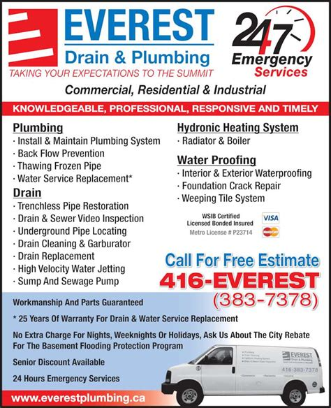 Plumbing Adverts everest drain plumbing east york on 31 commercial rd canpages