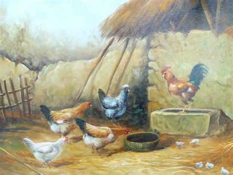 vintage original barnyard oil painting chickens