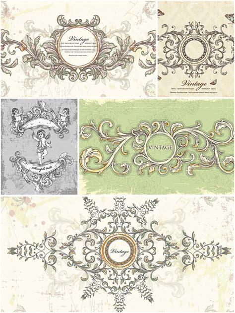 vintage wedding frames set vector
