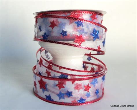 wired ribbon crafts wired ribbon 1 1 2 quot patriotic white blue glitter sheer twenty five yard roll