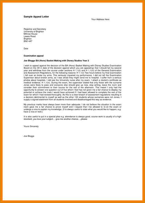 how to write an appeal letter letter format template