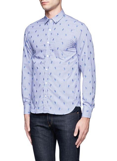 pattern cotton shirt lyst mauro grifoni owl pattern cotton shirt in blue for men