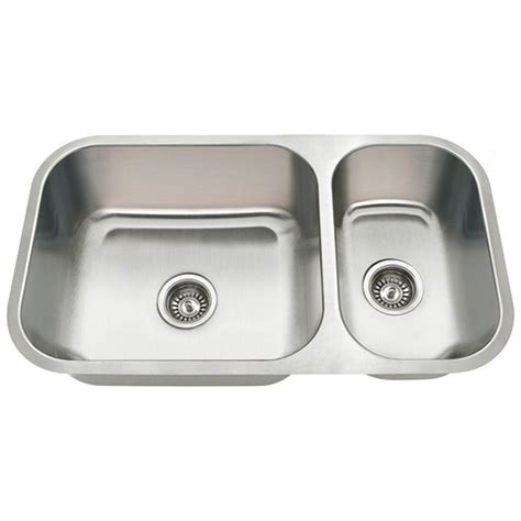 undermount kitchen sinks stainless steel polaris sinks undermount stainless steel 32 in double bowl kitchen sink pb8123 the home depot