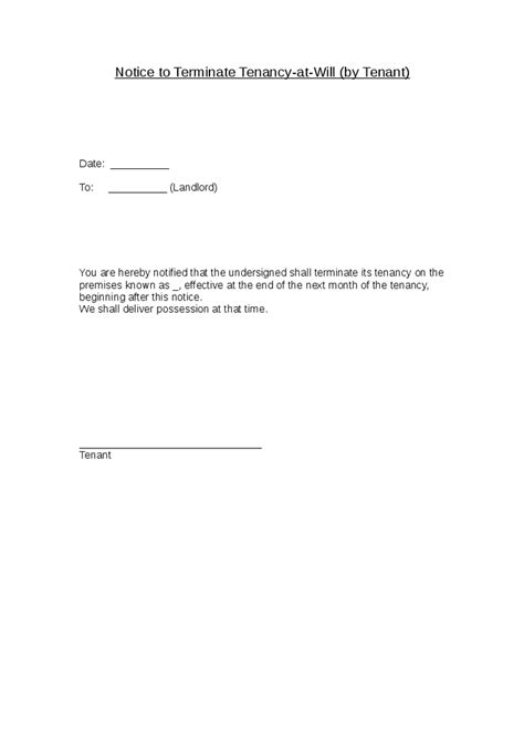 End Of Lease Agreement Letter To Tenant Notice To Terminate Tenancy At Will By Tenant Hashdoc