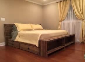 Diy Pallet Bed Frame With Storage Diy Platform Pallet Bed Plan With Storage 101 Pallets