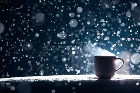 coffee night wallpaper backlighted cup of hot coffee on night snowy background