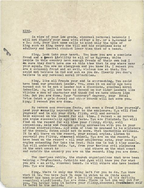 King S College Letter Here S The Letter Fbi Sent Martin Luther King Jr Encouraging Him To Commit Breaking Brown