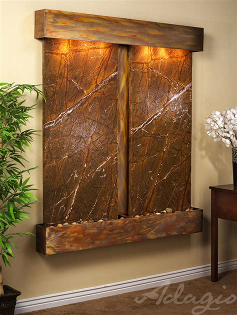 copper walls cottonwood falls wall water feature with brown marble and