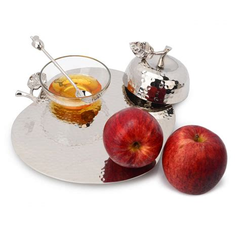 stainless steel apple honey dish with tray high holiday