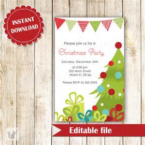 christmas tree holiday party invitation editable file