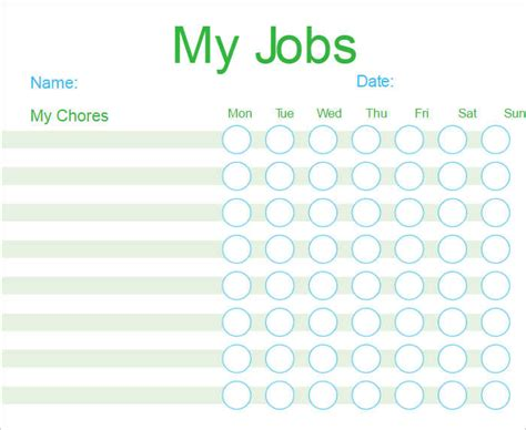 free chore charts templates chore chart template free pdf excel word format