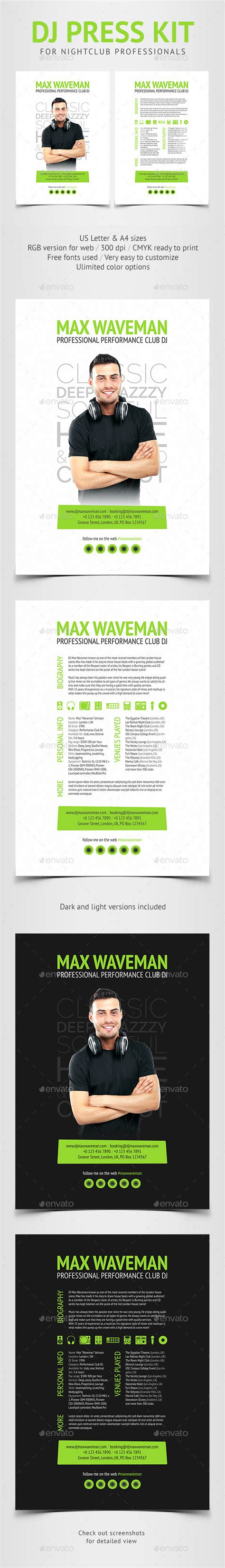 Groove Dj Press Kit Resume Psd Template By Vinyljunkie Graphicriver Free Press Kit Template Psd