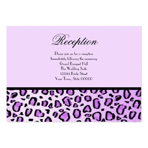 wedding reception cards purple leopard print large