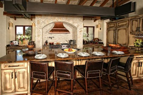 spanish style kitchen design amusing upholstered brown leather stools feat brown marble