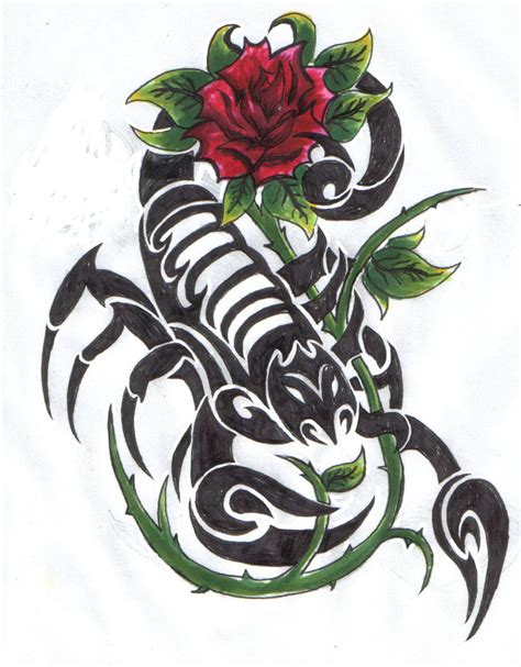 scorpion rose tattoo scorpion with