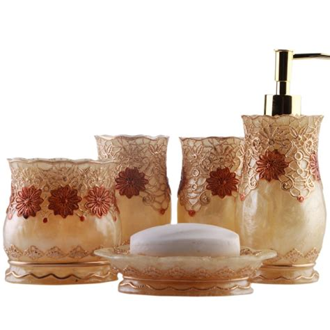 Aliexpress Com Buy Luxury Royal Floral Lace Bathroom Bathroom Accessories Sets Luxury