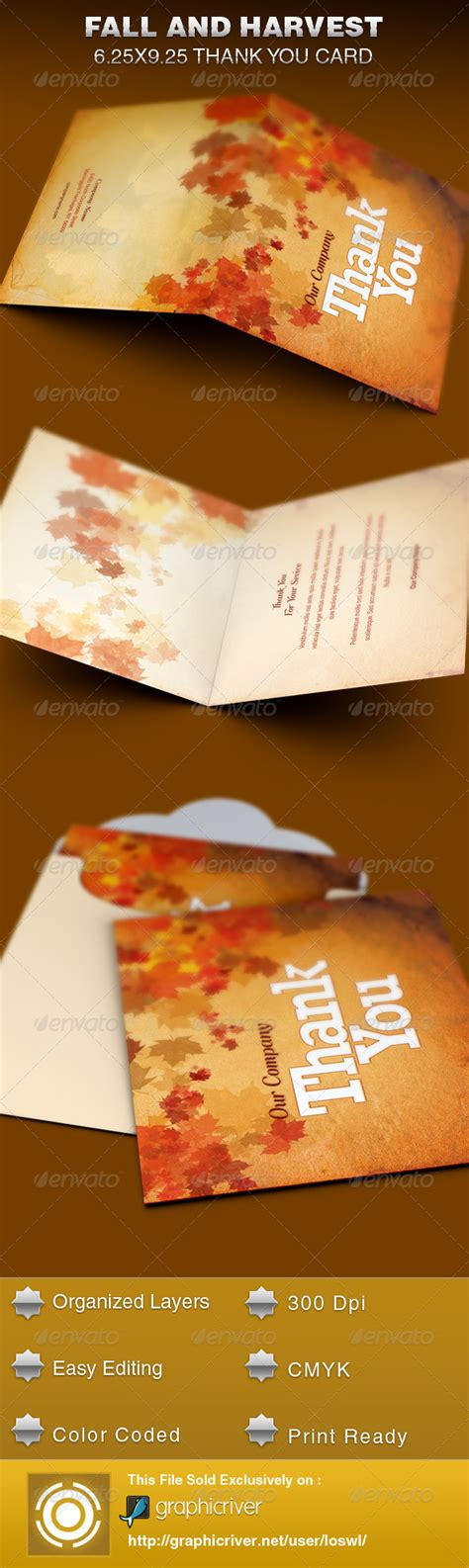 fall card template fall and harvest thank you card template by loswl