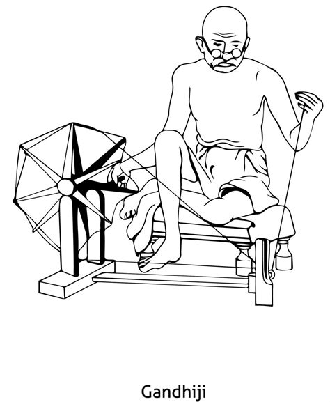 Republic Coloring Pages gandhiji coloring page