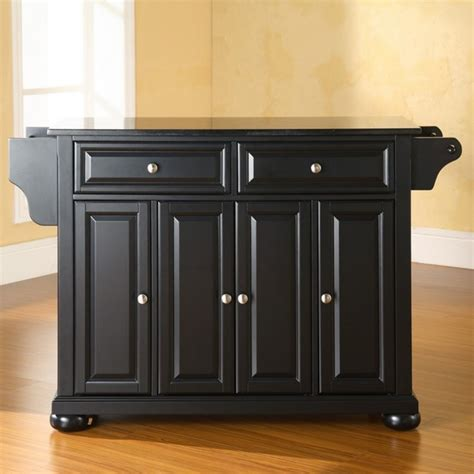 alexandria solid black granite top kitchen island
