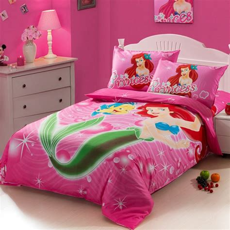 mermaid twin bedding the little mermaid hot pink kids girls cartoon baby bedding set twin size bedspread
