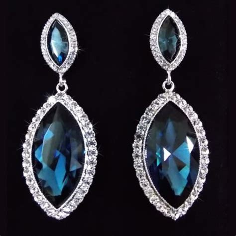 Navy Blue Marquise Gatsby 20s Chandelier Earrings Made Navy Blue Chandelier Earrings