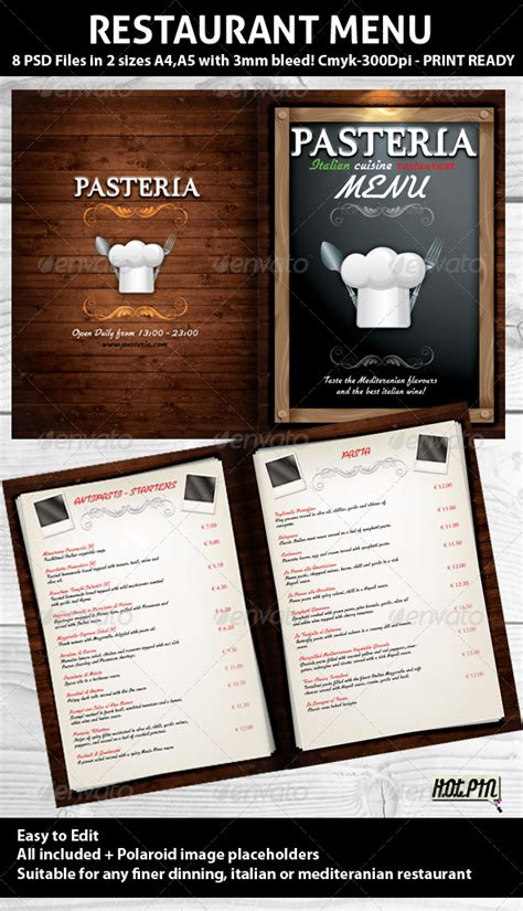 photoshop restaurant menu template restaurant menu psd template graphicriver