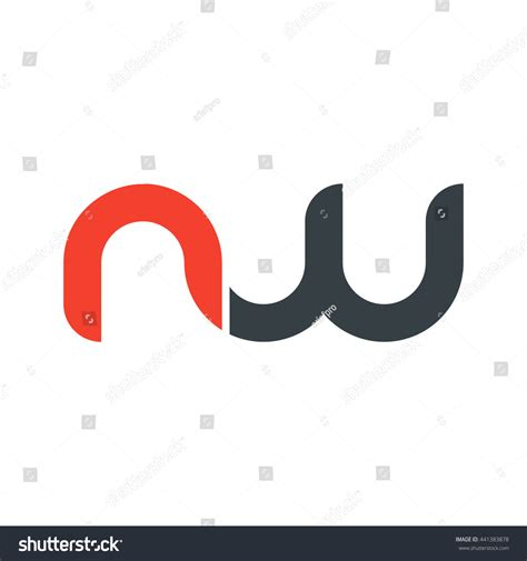 Nw Rounded initial letter nw linked lowercase stock vector