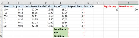 printable worksheets for overtime and regular pay how to quickly calculate the overtime and payment in excel