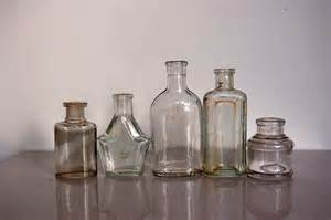 Small Glass Bud Vases Small Clear Glass Bottles Vintage British Household Bottles