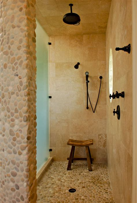 pebbles in bathroom tan white pebble tile shower floor accent pebble