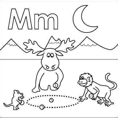 letter m coloring pages preschool letter m coloring page monkey moose mouse marbles