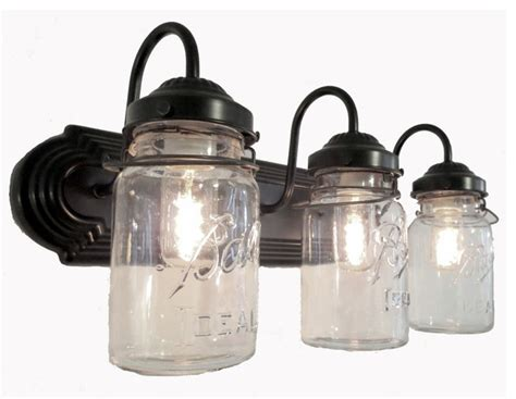 bathroom mason jar triple vanity wall sconce light